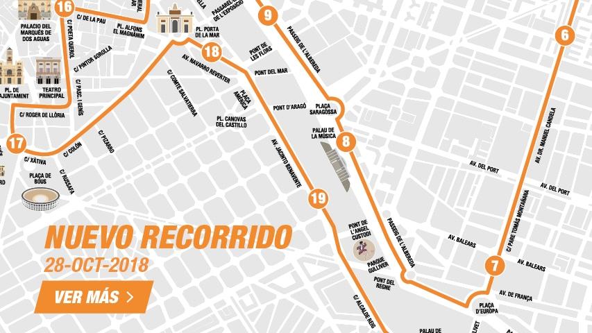 Nuevo Recorrido Medio Maratón Valencia 2018