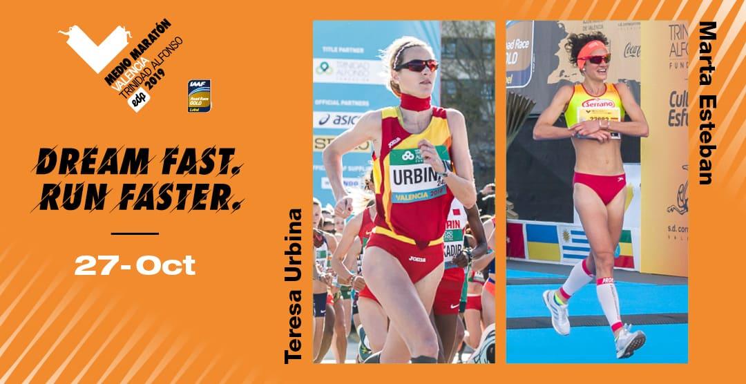 Elite española Medio Maratón Valencia - Teresa Urbina y Marta Esteban