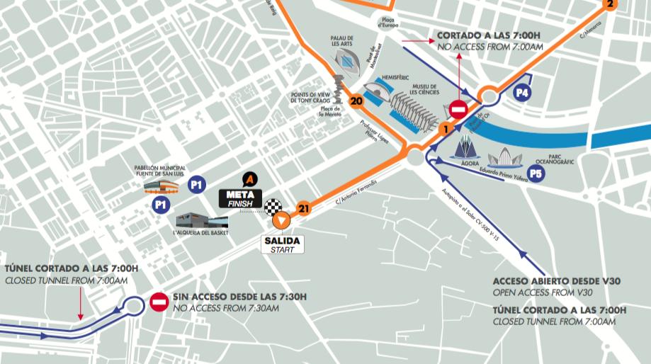 Parkings Medio Maraton Valencia 2019