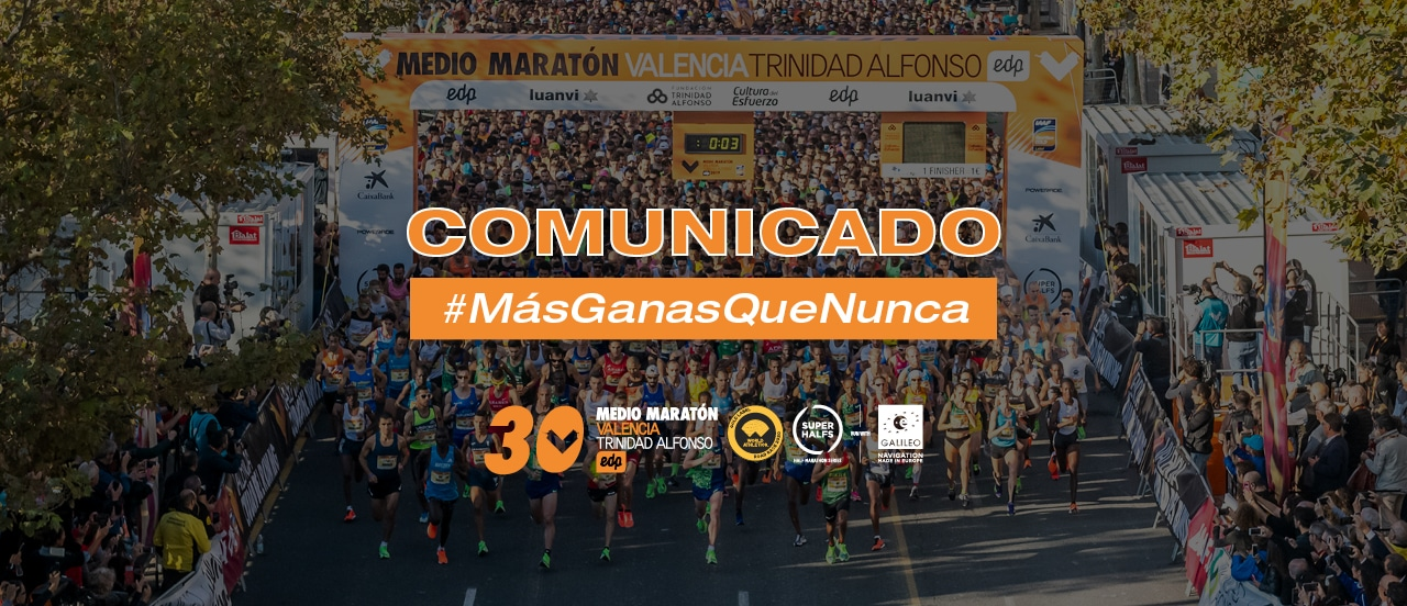 Cancelación Medio Maratón Valencia Trinidad Alfonso EDP 2020